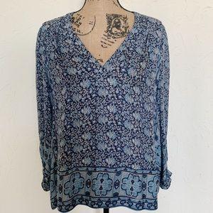 Joie Silk Blouse | Blue Gray Floral Blouse Sz M